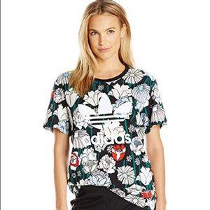 Adidas XL women's floral logo t shirt